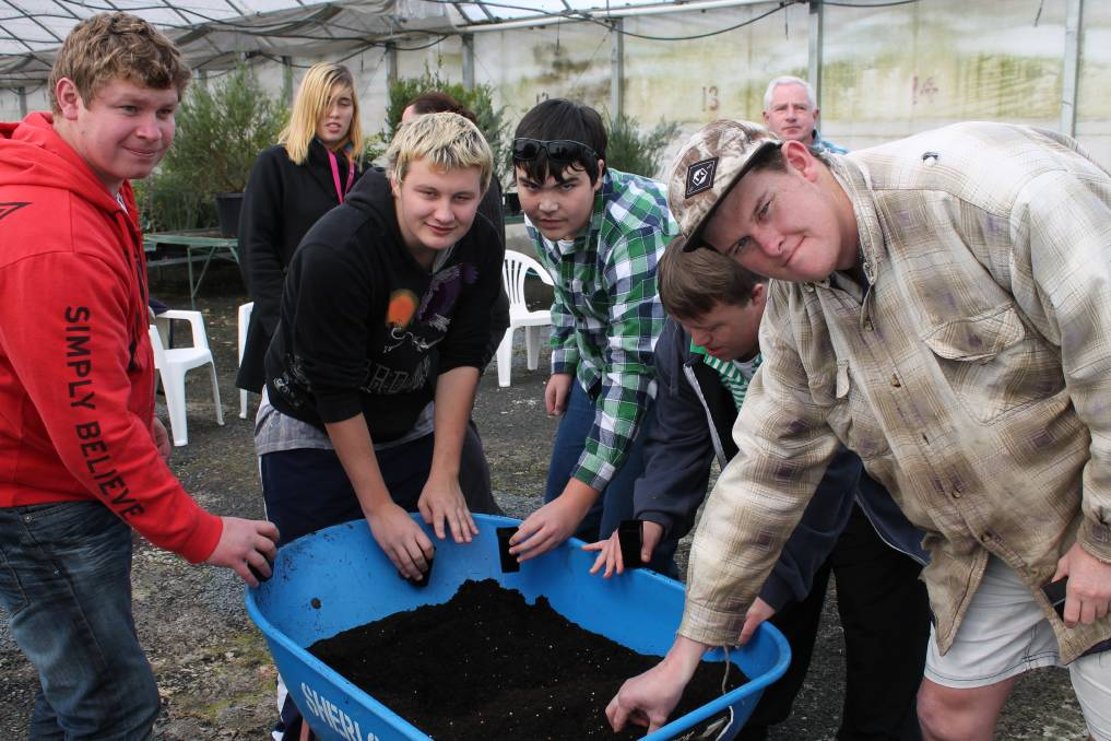 Rhys, Michaela, Nick, Will, and Will, John and Sam all took part in the recent BEST Food Garden tomato planting. Photo contributed